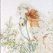 Картины и панно ручной работы. Ярмарка Мастеров - ручная работа вышитая крестом картина Девушка с лошадью. Handmade.