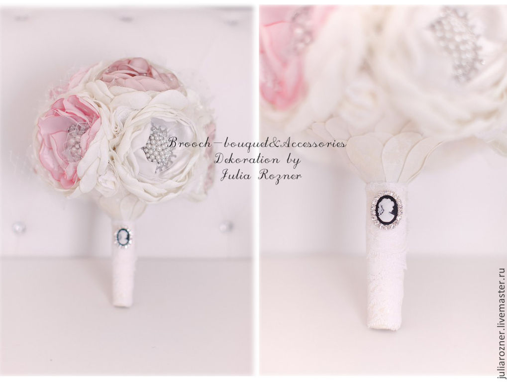 Bouquet of fabrics and brooches \