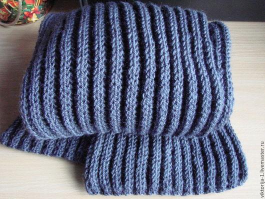 Шарфы и шарфики ручной работы. Ярмарка Мастеров - ручная работа. Купить шарф мужской теплый. Handmade. Тёмно-синий