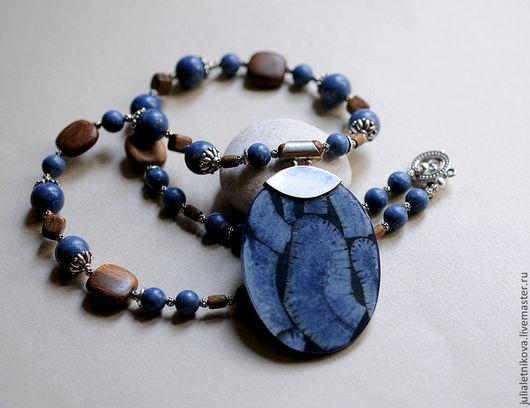 """Колье, бусы ручной работы. Ярмарка Мастеров - ручная работа. Купить Колье """"Levi's style"""" голубой натуральный коралл (res). Handmade."""