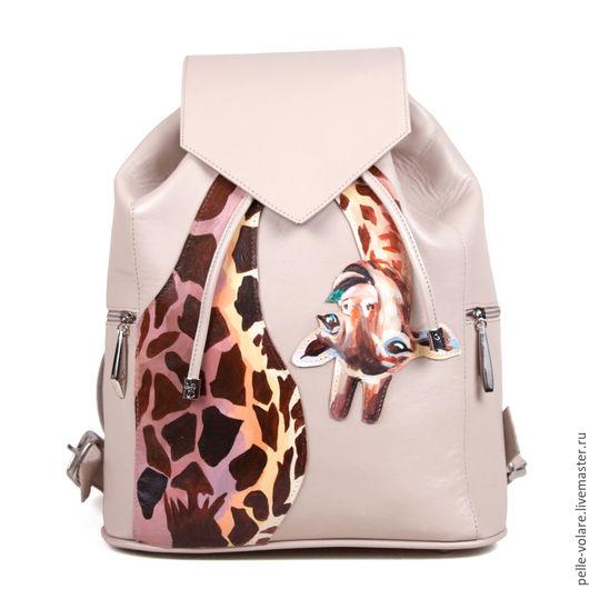 """Рюкзаки ручной работы. Ярмарка Мастеров - ручная работа. Купить Рюкзак """"Весёлый жираф"""". Handmade. Женский кожаный рюкзак"""