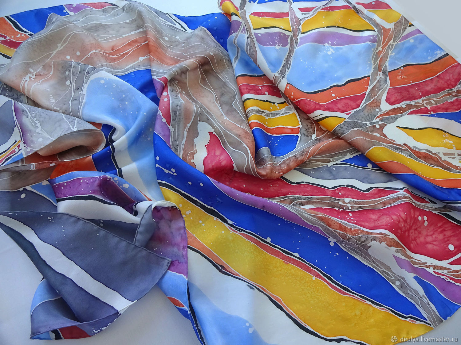 Batik, silk stole 'Waiting for spring», Wraps, Moscow,  Фото №1