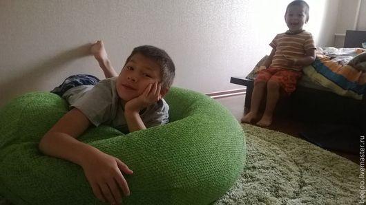 """Мебель ручной работы. Ярмарка Мастеров - ручная работа. Купить КРУГЛАЯ """"просто подушка"""". Handmade. Ярко-зелёный, кресло, удобное"""
