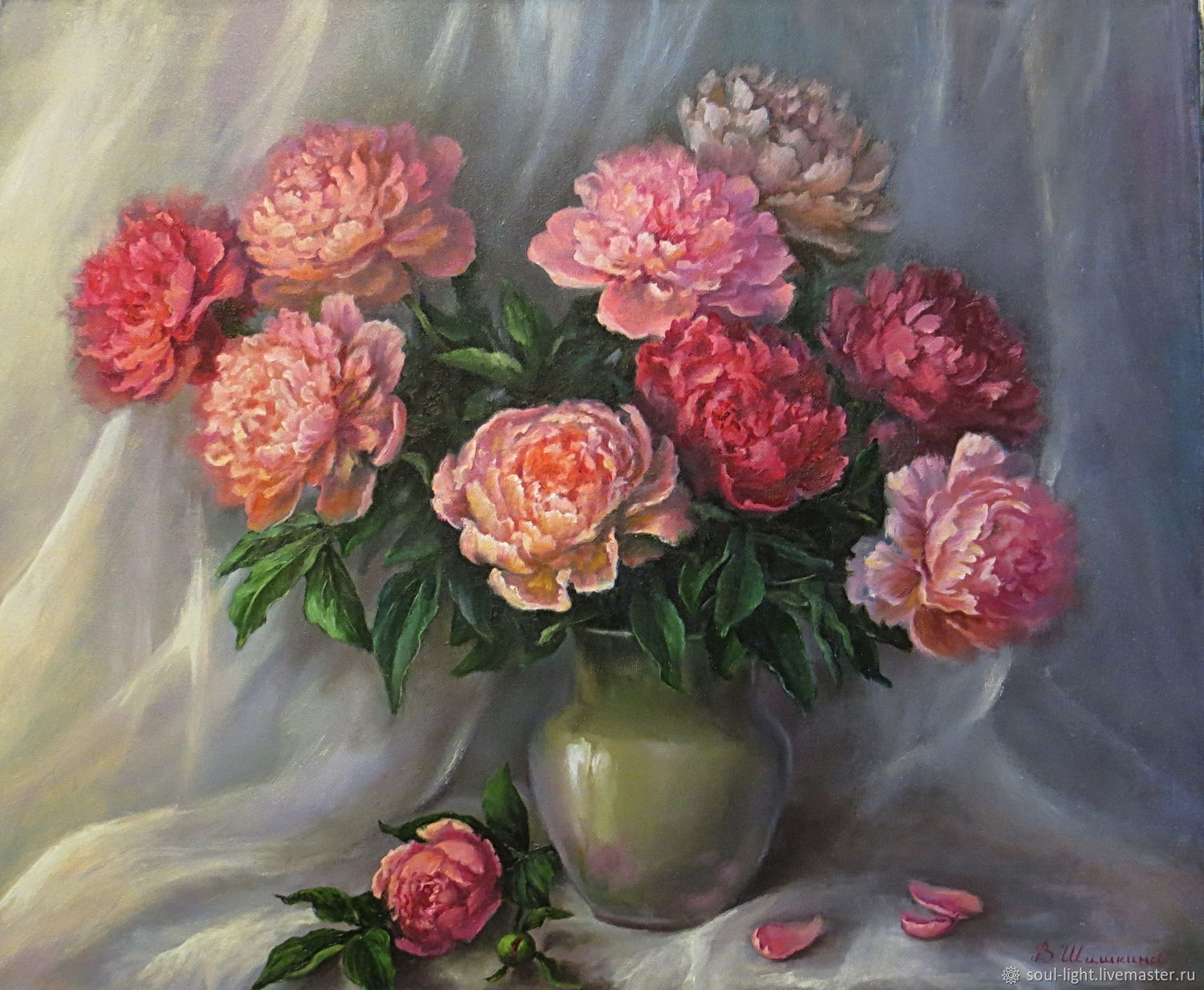 Oil painting Peonies, Pictures, Moscow,  Фото №1