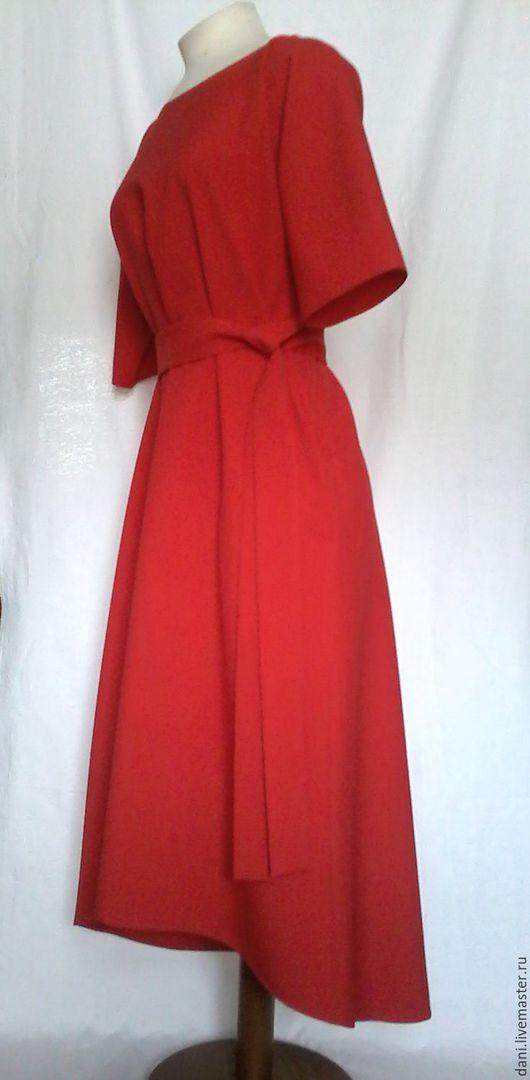Платья ручной работы. Ярмарка Мастеров - ручная работа. Купить Платье миди.. Handmade. Ярко-красный, платье с карманами