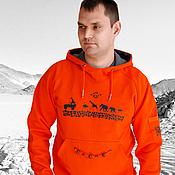 Одежда handmade. Livemaster - original item Men`s orange sweatshirt Africa, men`s jacket kangaroo hooded. Handmade.