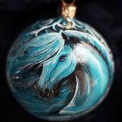 Подарки к праздникам ручной работы. Ярмарка Мастеров - ручная работа Синяя Лошадь - авторский елочный шар. Handmade.