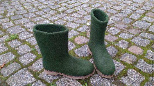 """Обувь ручной работы. Ярмарка Мастеров - ручная работа. Купить валенки на подошве """" Лесные"""". Handmade. Тёмно-зелёный"""