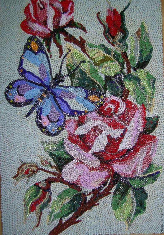 Картина из бисера `Нектар розы`