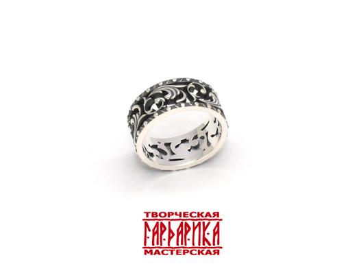 """Женское кольцо """"Весна"""" с славянским растительным орнаментом. Серебро."""