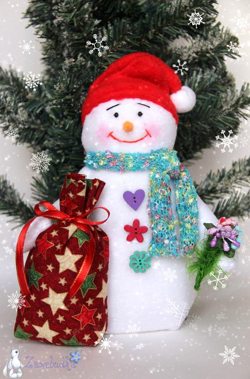 Новый год 2017 ручной работы. Ярмарка Мастеров - ручная работа. Купить Снеговик с подарком. Handmade. Снеговик, новогодние игрушки