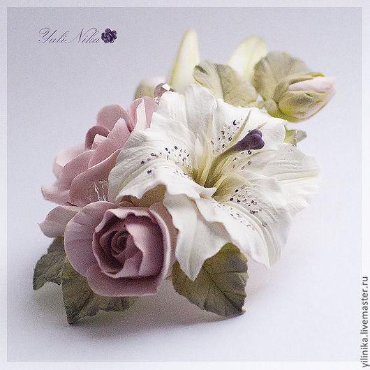 Броши ручной работы. Ярмарка Мастеров - ручная работа. Купить Украшение с лилией и розами. Handmade. Бледно-розовый, розы