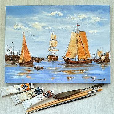 Pictures and panels handmade. Livemaster - original item Painting the Sea, boats, sail. Handmade.