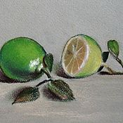 Картины и панно handmade. Livemaster - original item Painting with fruit limes pastel painting. Handmade.