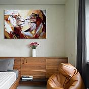 """Картины и панно ручной работы. Ярмарка Мастеров - ручная работа """"Львы"""" Интерьерная картина. Handmade."""