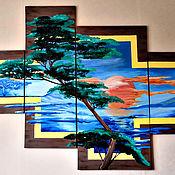 Картины и панно handmade. Livemaster - original item Modular picture of the Sunset. Handmade.