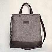 Сумки и аксессуары handmade. Livemaster - original item Coffee-colored bag made of melange fabric, canvas and eco-leather. Handmade.