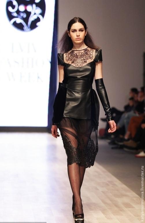 Платья ручной работы. Ярмарка Мастеров - ручная работа. Купить Коктейльное платье из натуральной кожи и бархата. Handmade. Черный