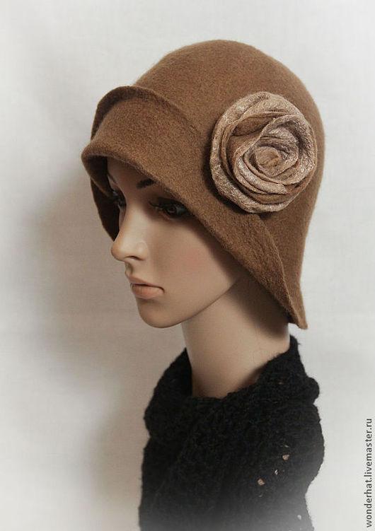 """Шляпы ручной работы. Ярмарка Мастеров - ручная работа. Купить Шляпка """"Чайная роза"""". Handmade. Бежевый, валяная шляпа"""