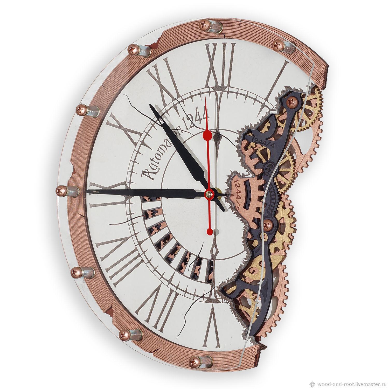 Часы для дома ручной работы. Ярмарка Мастеров - ручная работа. Купить Часы настенные Автоматон 1244. Handmade. Стимпанк, шестеренка