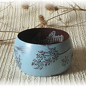Украшения handmade. Livemaster - original item Blue & brown wide wooden bracelet . Decoupage wood. Handmade.