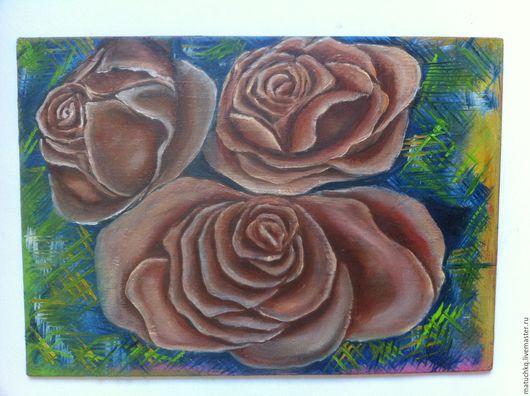 Картины цветов ручной работы. Ярмарка Мастеров - ручная работа. Купить Три чайные розы.. Handmade. Комбинированный, чайная роза