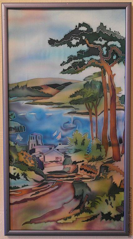 Пейзаж ручной работы. Ярмарка Мастеров - ручная работа. Купить Дорога к морю. Handmade. Зеленый, картина, пейзаж, сосна, шелк