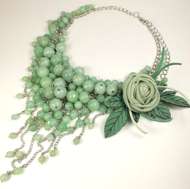Jewelry Sets handmade. Livemaster - handmade. Buy Mint Parfait. Necklace, brooch.Rose, mint, natural silk, leather flowers