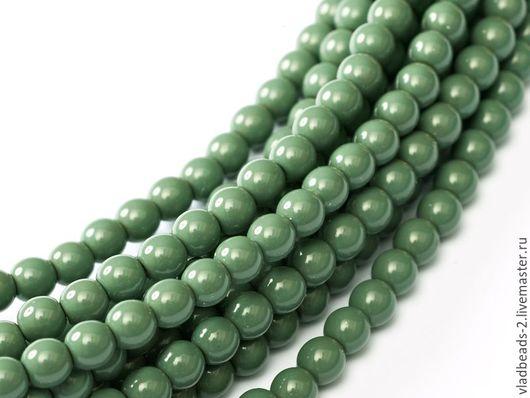 Для украшений ручной работы. Ярмарка Мастеров - ручная работа. Купить Бусины 4мм чешские стеклянные Hartford Green. Handmade.