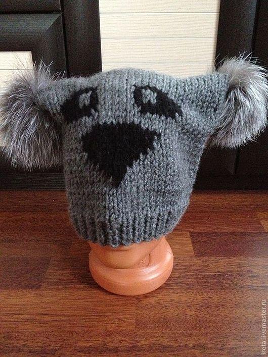Шапки ручной работы. Ярмарка Мастеров - ручная работа. Купить шапка панда серая с меховыми помпонами. Handmade. Серый, помпон