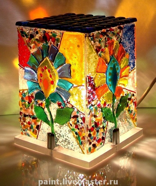 Lamp night light from art glass Kaleidoscope, fusing, Nightlights, Khabarovsk,  Фото №1