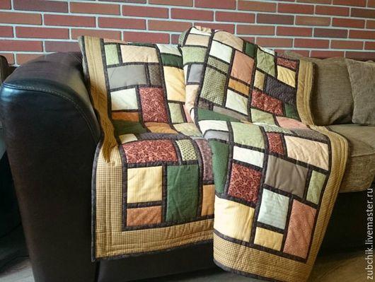 Текстиль, ковры ручной работы. Ярмарка Мастеров - ручная работа. Купить Лоскутное покрывало Дом у озера пэчворк. Handmade. Коричневый