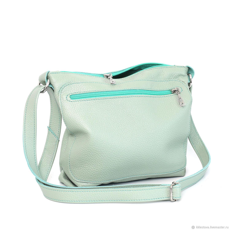 Handbags handmade. Livemaster - handmade. Buy Mint bag with shoulder strap - Crossbody Mint.Chocolate, bag with chain