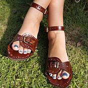 """Обувь ручной работы. Ярмарка Мастеров - ручная работа Кожаные сандалии """"Crazy Inca"""". Handmade."""