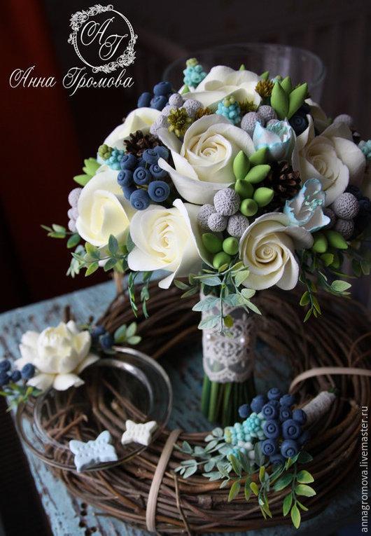 Свадебные цветы ручной работы. Ярмарка Мастеров - ручная работа. Купить Букет невесты с мускари. Handmade. Голубой, букет для свадьбы