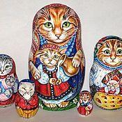 """Русский стиль ручной работы. Ярмарка Мастеров - ручная работа Матрешка """"Кошки"""". Handmade."""