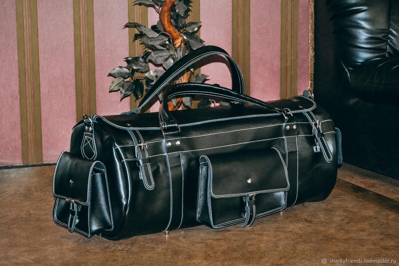 Большая спортивная сумка, Кожаная черная дорожная сумка, Спортивная сумка, Днепр,  Фото №1