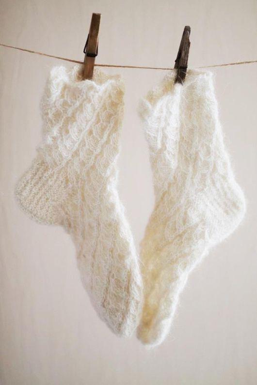 Носки, Чулки ручной работы. Ярмарка Мастеров - ручная работа. Купить Ажурные носки из козьего пуха. Handmade. Белый