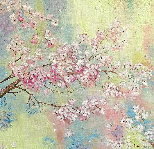 Картины цветов ручной работы. Ярмарка Мастеров - ручная работа. Купить ЦВЕТЕНИЕ на горах. Handmade. Сакура, цветущая, розовый, нежный