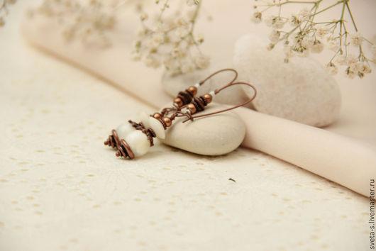 """Серьги ручной работы. Ярмарка Мастеров - ручная работа. Купить Серьги  """"БоХо """". Handmade. Сережки, необычные серьги, белый"""