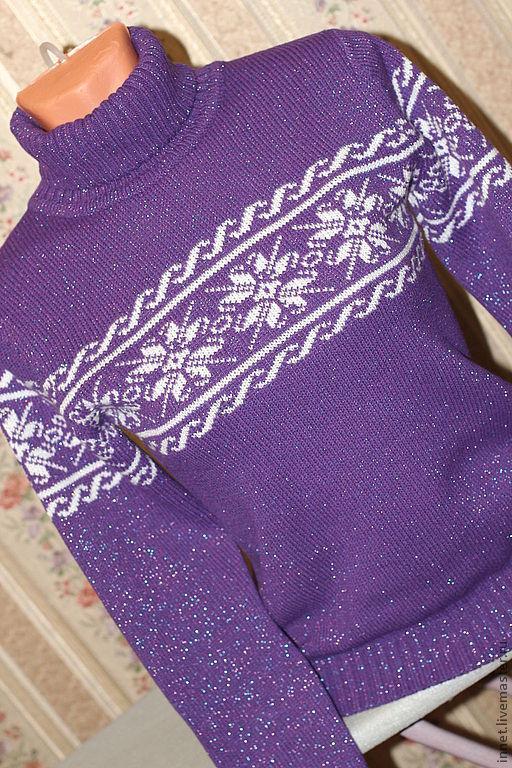 Кофты и свитера ручной работы. Ярмарка Мастеров - ручная работа. Купить Женский фиолетовый свитер вязаный. Handmade. Тёмно-фиолетовый