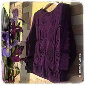 Одежда ручной работы. Ярмарка Мастеров - ручная работа Свитер женский Лианы, фиолетовый, узор листья, 100% хлопок. Handmade.
