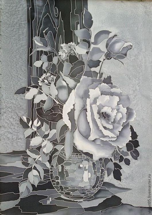 """Натюрморт ручной работы. Ярмарка Мастеров - ручная работа. Купить """"Белая роза,  натюрморт на шелке"""", батик, картина на шелке. Handmade."""