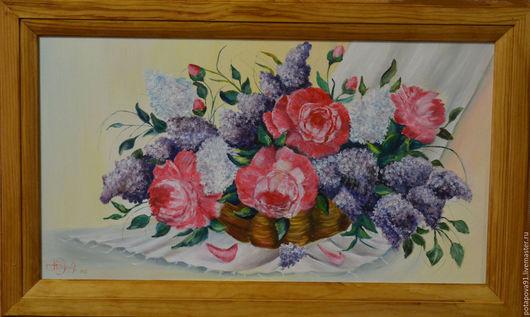 """Картины цветов ручной работы. Ярмарка Мастеров - ручная работа. Купить """"Весенний натюрморт"""" холст на подрамннике, масло, в рамке. Handmade."""