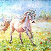"""Картины и панно ручной работы. Ярмарка Мастеров - ручная работа Картина """"Лошадка на лугу. Счастье"""". Handmade."""