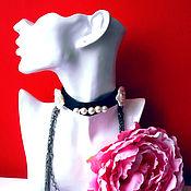 Украшения ручной работы. Ярмарка Мастеров - ручная работа Колье ошейник из кожи, жемчужных роз и цепи. Handmade.