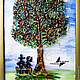 """Люди, ручной работы. Ярмарка Мастеров - ручная работа. Купить коллаж из стекла """"Дерево желаний"""". Handmade. Зеленый, дерево влюбленных"""