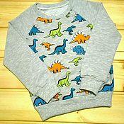 """Работы для детей, ручной работы. Ярмарка Мастеров - ручная работа Свитшот """"динозавры"""". Handmade."""