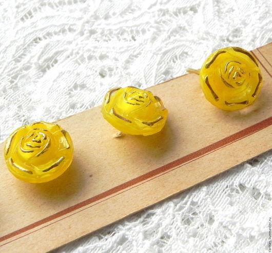 Шитье ручной работы. Ярмарка Мастеров - ручная работа. Купить Винтажная пуговица Жёлтая Роза,50ые,Чехия,богемское стекло,позолота. Handmade.