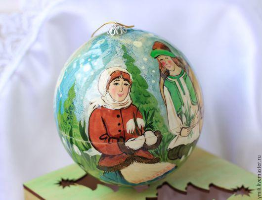 Роспись по дереву. Шар шкатулка для сюрпризов, сувениров. новогодний подарок, рождественский подарок.